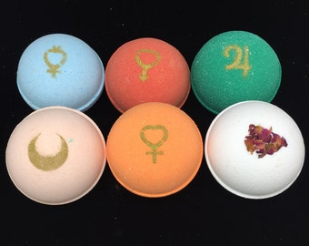 Set of SIX Sailor Scout Inspired Bath Bombs, with Tuxedo Mask! (Charms Inside!)