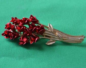 Vintage 1997 DM Goldtone Red Flower Bouquet Pin Brooch