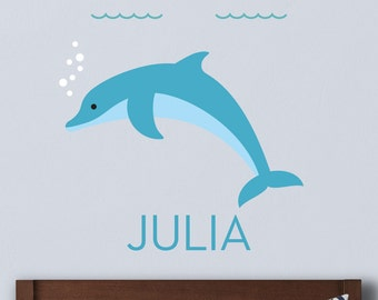 Dolphin Wall Decal, Dolphin Decal, Dolphin Wall Sticker, Ocean Decal, Sea Life Decal, Personalized Decal, Dolphin Name Decal