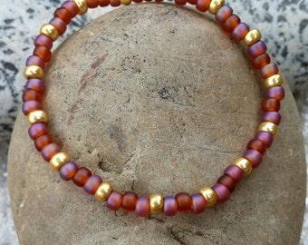 Burnt Caramel, Pink and Gold Bracelet