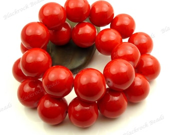 Cherry Red Round Glass Beads - 16mm - Smooth, Shiny Painted Beads - 12pcs - BL23