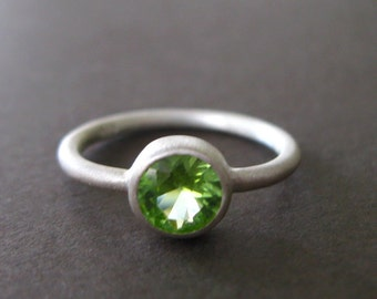 Green Peridot Matte Sterling Stacking Band Ring