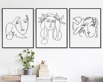 Picasso Head Of A Woman Scandinavian Art 11x14 Print Set Downloadable Art  Picasso Print Sketch Art