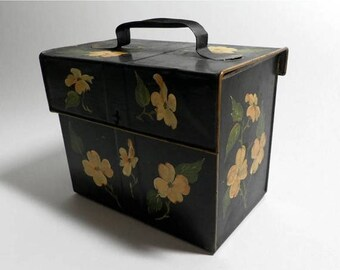 ON SALE Shabby Black Tin Box with Hand Painted Flowers