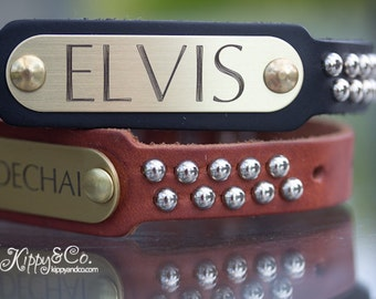 Leather Studded Dog Collar, Personalized Leather Dog Collar, Engraved Name Dog Collar
