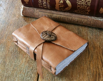 """Leather Journal . Sylvia Plath """"Let me live, love, and say it well in good sentences"""" . supple tan with coconut shell button  (320 pgs)"""