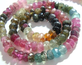 Watermelon Tourmaline Faceted Rondelle, Organic HandCut, Gorgeous Sparkling Multi Color Tourmaline beads, 4.5-5mm, Full strand