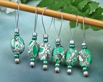 Stitch Markers, Knitting, Mosaic Stone, Snag Free, Green White Black, Jeweled Tool, Knitting Accessory, Supplies, Handmade, Gift for Knitter