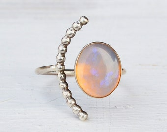Opal Half Moon Ring, Sterling Silver Beaded Arc Ring, Adjustable Open Stone Ring, Gemstone Statement Ring