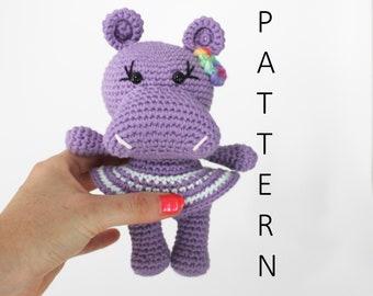 Pdf Pattern, Crochet Amigurumi Pattern, Amigurumi Crochet Hippo Pattern, Pdf Hippo, Plush Hippo, Amigurumi Hippopotamus Pattern, Plushie