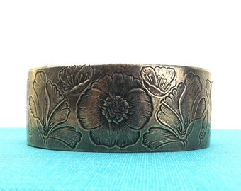 pewter. bracelet. cuff. august. floral. poppy. flower. birthday. gift. for her. gift for her. gift for women. boho jewelry. salsbury pewter.