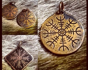 Helm of Awe Pendant-Norse symbol of Protection, Aegishjalmer (viking heathen pagan) copper