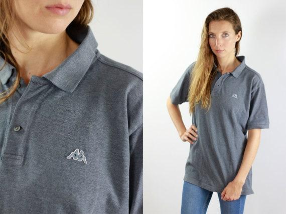 Kappa Shirt Grey Polo Shirt Kappa T-Shirt Shirt Kappa Grey Poloshirt Kappa Vintage T-Shirt Kappa T-Shirt Vintage  Kappa Polo Shirt 90s Top
