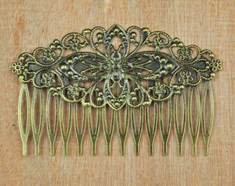 Filigree Hair Comb,20pcs Antique Bronze metal combs,14Teeth Barrette Hair Combs with filigree flower,Hair Accessory,Wedding Hair Comb Blank