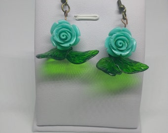 Teal rose with leaves retro earrings