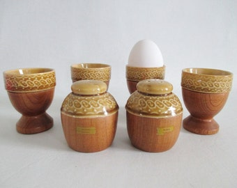 4 Egg Cups Teak Wood Ceramic Salt & Pepper Shakers Breakfast Set 1970s