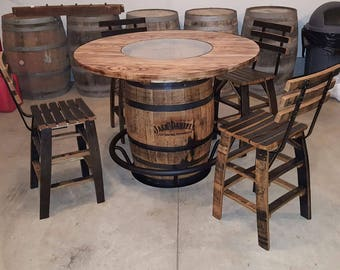 Jack Daniels Whiskey Barrel Table, with 4 Stave Chairs and Metal Footrest - (ask for freight quote)