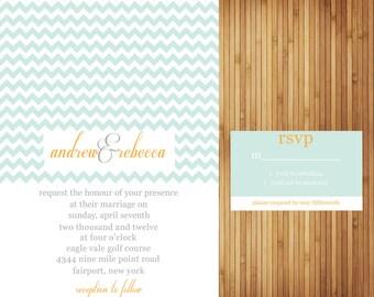 Chevron Wedding Invitation with matching RSVP card
