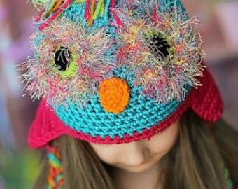 Crochet Owl Hat - Owl Cap - Woodland Hat - Newborn Photo Prop - Baby Girl - Woodland Photo Props - Fuzzy Owl Hat - Crochet Owl Hat