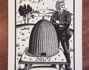 B is for Beekeeper Linocut Print // Handmade // Original // Limited Edition