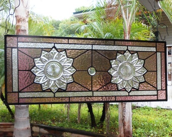 Depression Glass Petal Pattern, Stained Glass Plate Panel, Stained Glass Transom Window, Antique Window Valance, OOAK Vintage Stained Glass