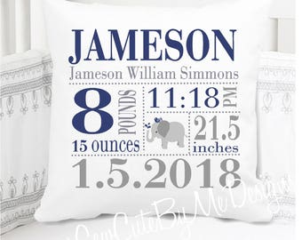 Boys Birth Announcement Pillow - Birth Stats Pillow - New Baby Boy Nursery Gift - Elephant in Navy and Grey - New Baby Gift Personalized