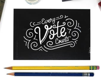 """Political Postcards: Set of 10 """"Every Vote Counts"""" postcards, perfect for writing to your reps or get out the vote"""