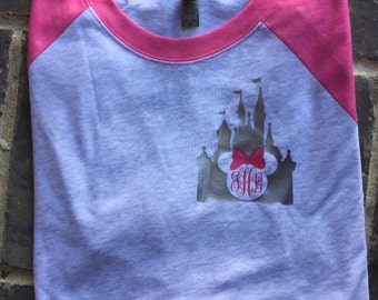 Free Shipping! Disney Monogram Raglan / Mouse Shirt/ Disney Shirt / Vacation Shirt
