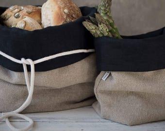 Burlap Bread Basket, Natural Linen Bread Basket, Storage Basket, Tyvek Basket, Bathroom Storage, Zero Waste, Linen Storage