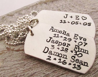 Personalized Men's Necklace - dog tag necklace - Sterling Silver Men's Jewelry - Family