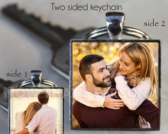 PHOTO KEYCHAIN - Custom Photo Keychain - Picture Keychain - 2 photo Keychain - Personalized keychain, Photo Jewelry , keepsake , photo gift