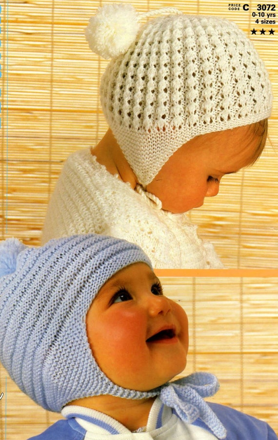 Knit Baby Hats Vintage Pattern Toddler Knitting Earflap Bonnet