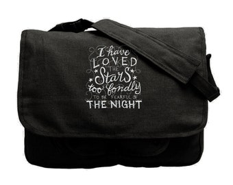 I Have Loved the Stars Embroidered Canvas Cotton Messenger Bag Style 1