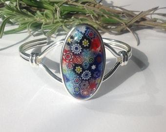 Cuff bangle, millefiori glass bangle, millefiori glass bracelet, gift for her, millefiori bracelet