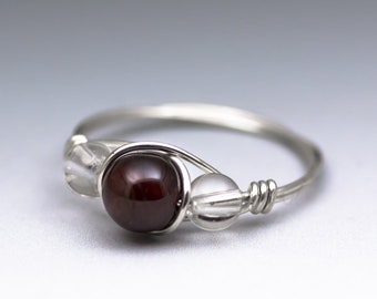 Pyrope Garnet & Clear Crystal Quartz Sterling Silver Wire Wrapped Gemstone Bead Ring - Made to Order, Ships Fast!