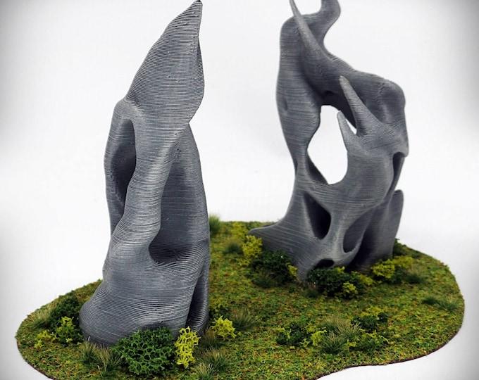 "Wargame Terrain - Diablo-Spike Combo (""Ghost Stones"") – UNPAINTED kit - Miniature Wargaming & RPG terrain"