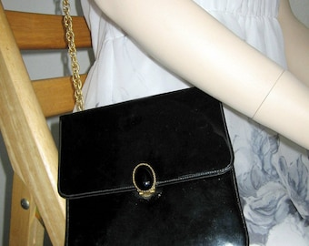 Vintage Patent Handbag Black Retro Square Gold Purse Long Chain Shoulder Strap San Diego California USA