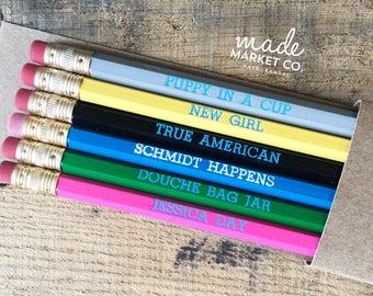 New Girl TV Sitcom Pencil Set, Foiled Engraved Pencils, Jessica Day Schmidt Nick Winston, Fun Hilarious Gift, Best Seller Most Popular Item