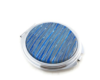 Compact mirror polymer clay blue and gray stripes unique gift
