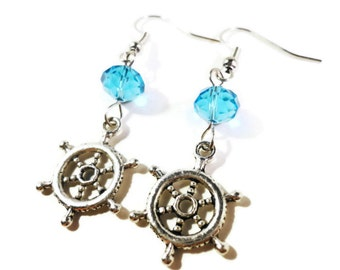 Ship Wheel Earrings, Aqua Blue Crystal Bead Earrings, Beaded Dangle Earrings, Beadwork Earrings, Silver Charm Earrings, Nautical Jewelry