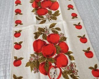 Vintage Parisian Prints Pure Linen Tea Dish Towel Basket Liner Apples Blossoms Thanksgiving Harvest Fall