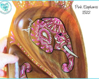Pink Elephants decorative wood bowl or tray, handpainted, #TB1522