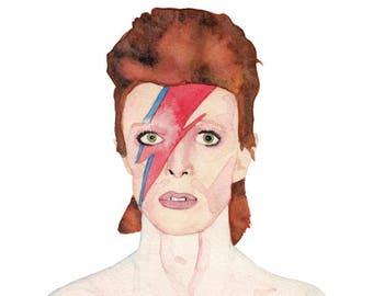 Ziggy Stardust/David Bowie Watercolor Print (FREE U.S. Shipping)