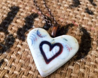 Porcelain Heart Hand Stamped Pendant Necklace