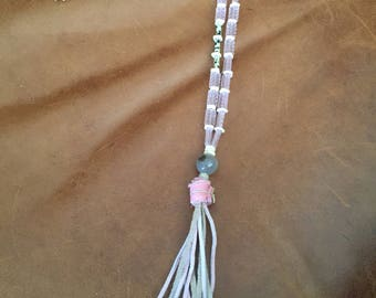 BEAUTIFUL vintage pink beads with some dalmatian jasper and a leather fringe tassel