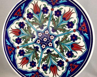 "Vintage 6 1/4"" iznik Turkish Ceramic Art Tile/Trivet"
