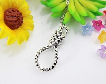 Silver Hangman's Noose Charm Necklace Hangman's Knot Charm Rope Charm Noose Charm Lasso Charm Prolonge Charm Halloween Necklace