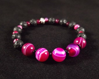 Lava Stone Diffuser Bracelet with Banded Agate