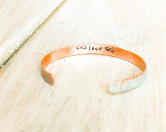 Hammered Copper Infinity Cuff, Personalized Gift for Wife, Infinity Bracelet, Infinity Cuff, Infinity Anniversary Gifts, Infinity Valentines