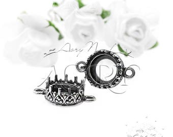 1pcs 925 Sterling Silver Crown Bezel Setting for 8mm Pointed Back and Double Checkerboard Cut Stones, 2 Loops, N3429-2as, Oxidized Silver